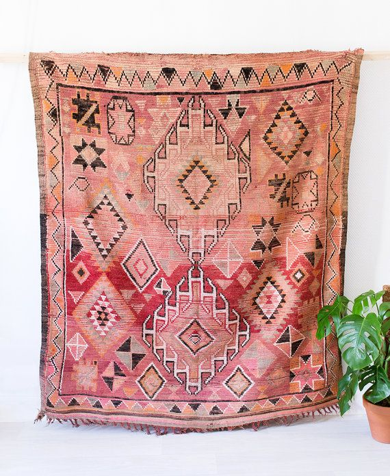 "Vintage Moroccan Boujad Rug, ""The Frances,"" Berber Kilim"