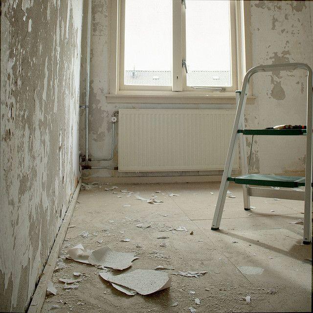 Bedroom   Stripping Wallpaper + Repairing Plasterwork Below + Painting Walls  / Ripping Up Mdf Floors + Sanding U0026 Painting Wooden Floors Below