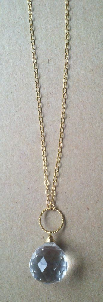 long gold s dot jewelry necklace with clear crystal pendant