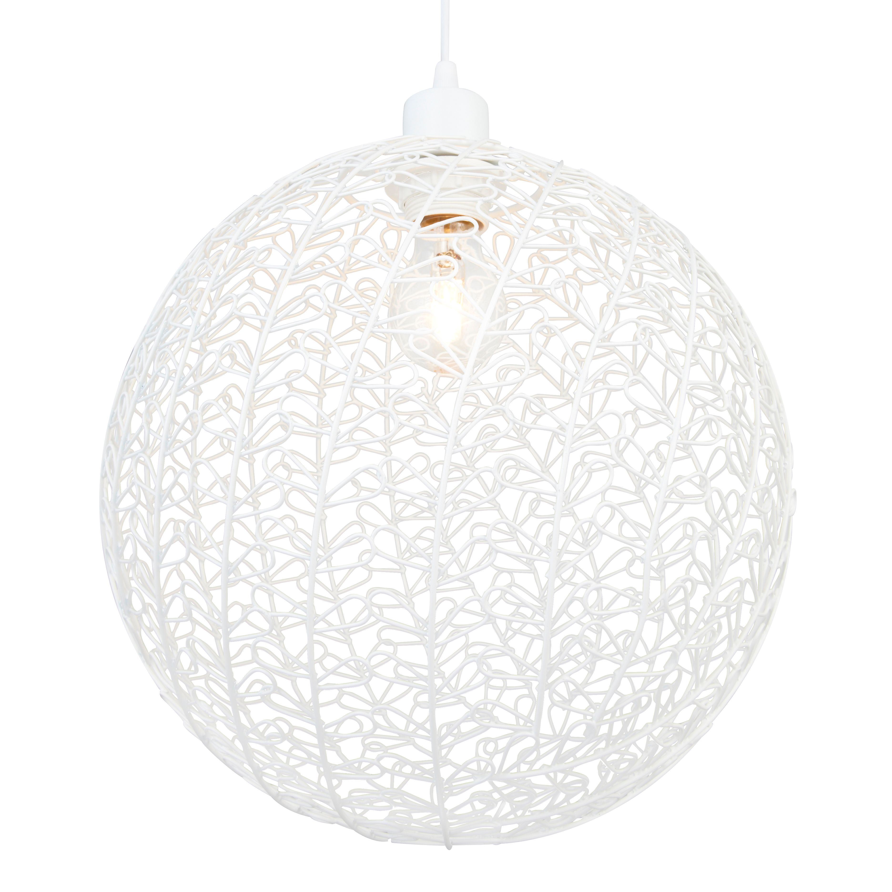 Colours Missoula White Matt Wire Ball Light Shade D 30cm