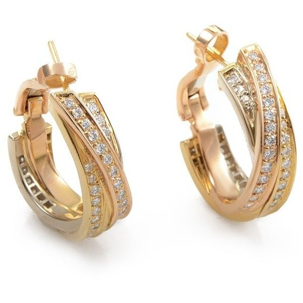 Preowned Cartier Trinity 18K TriGold Diamond Hoop Earrings 9000