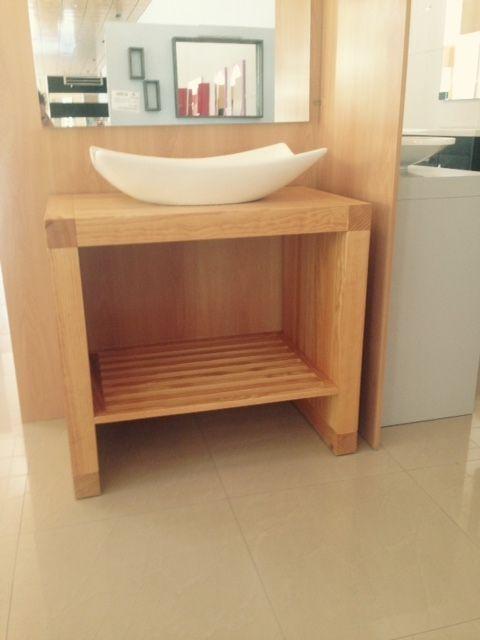 Mueble de ba o modelo n rdico de 80 cms en miel con lavabo - Mueble de bano madera ...