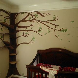 Whimsical Furniture Whimsical Tree Mural With Windblown Leaves - Corner tree bookshelf