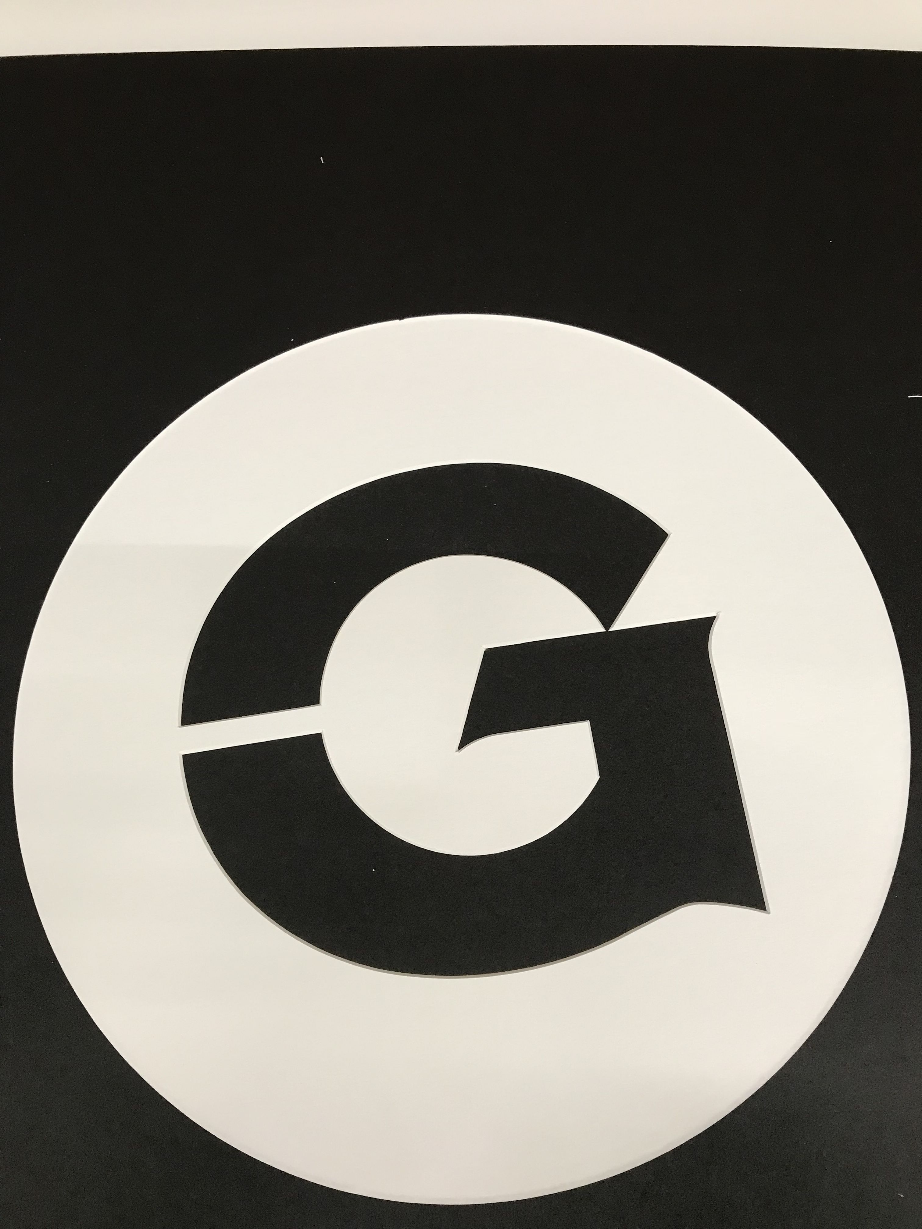 Georgetown G Stencil for a stool. Made custom for one of ...