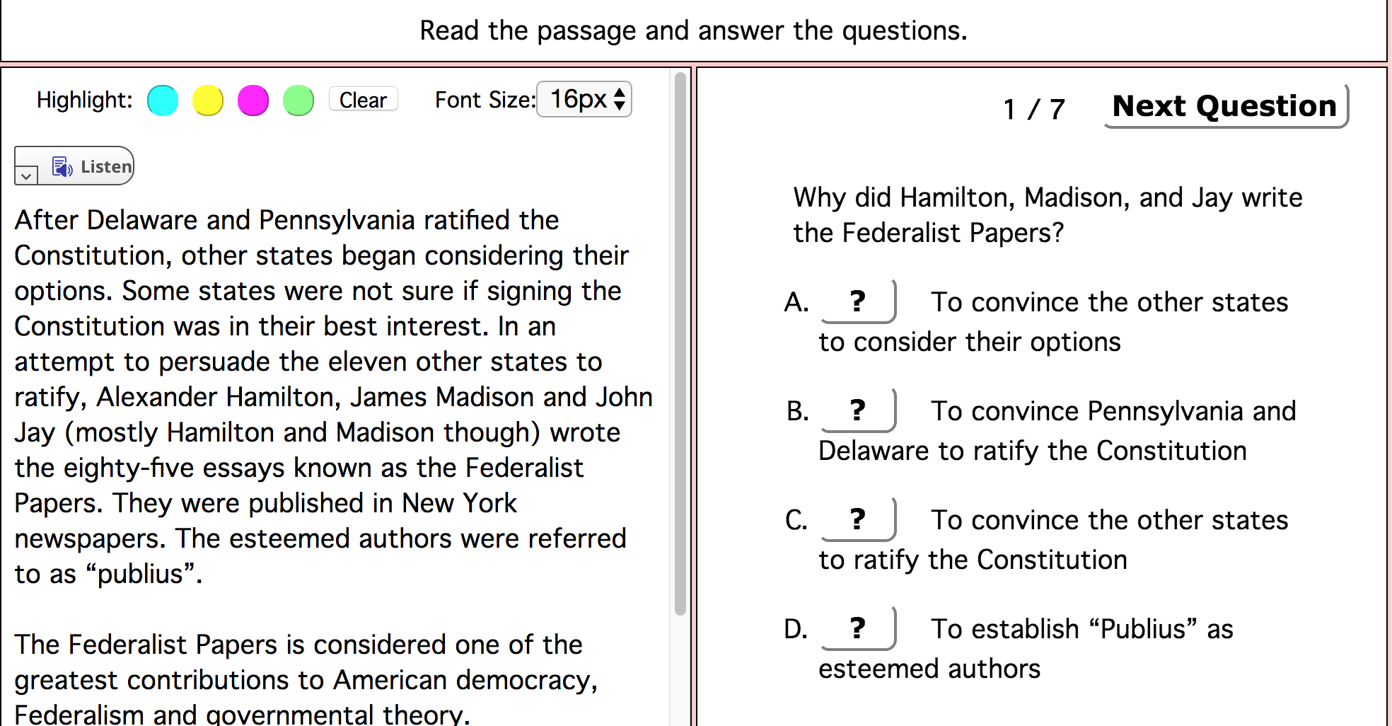 This Is An Online Reading Comprehension And Question Set On The Federalist Papers It Has 10 M Reading Comprehension Online Reading Comprehension Comprehension [ 1026 x 1968 Pixel ]