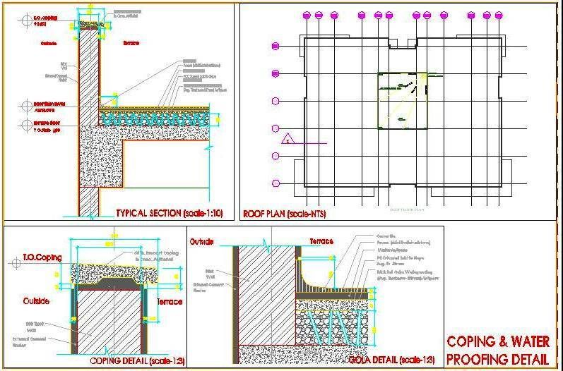 Terrace Parapet Wall Coping And Water Proofing Detail Dwg Detail In 2020 Parapet Stairway Design Terrace