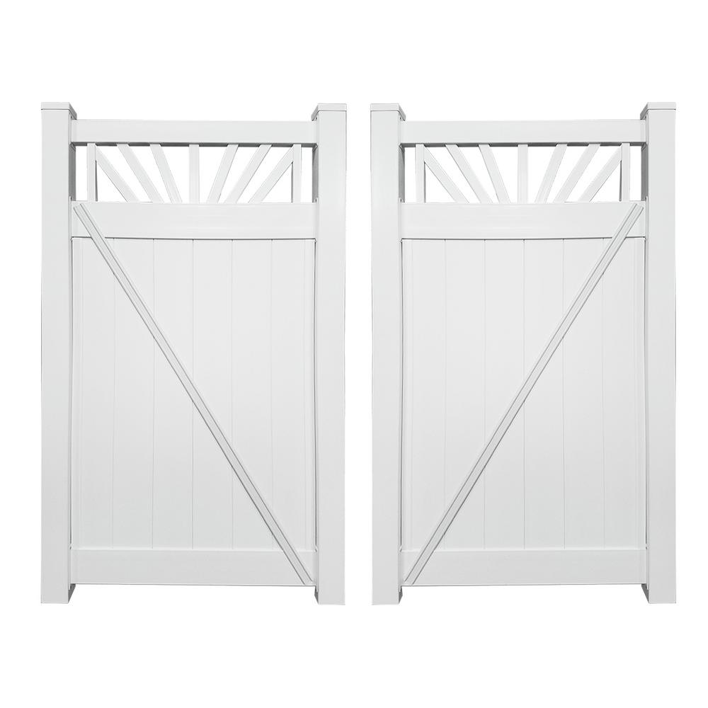 Weatherables Annapolis 3 7 Ft W X 5 Ft H White Vinyl Privacy Fence Gate Kit Swpr Cts 5x44 5 Vinyl Privacy Fence White Vinyl Vinyl Panels