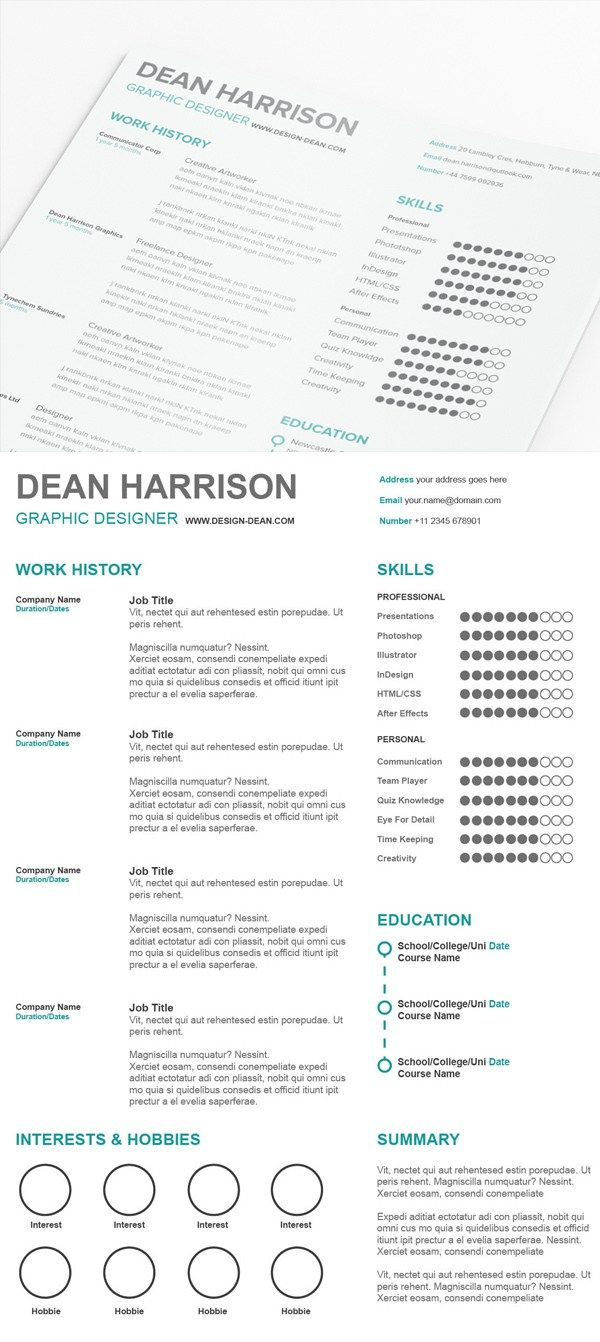Free Simple Resume PSD Template Resume cover letter