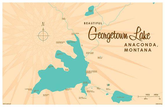 Georgetown Lake, MT Map Print | Georgetown lake, Lakes and Hawaii