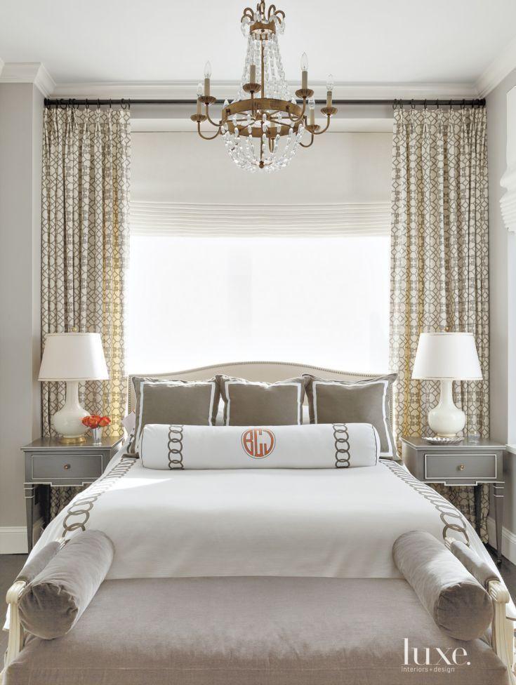 In the master bedroom custom bedding from