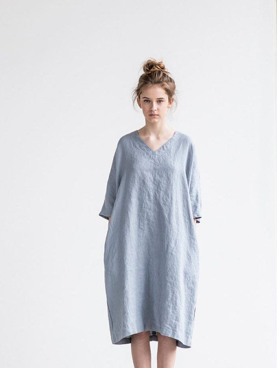 Light elephant grey  linen tunic/dress. Washed linen kimono tunic. Oversize linen dress. V neckline linen dress