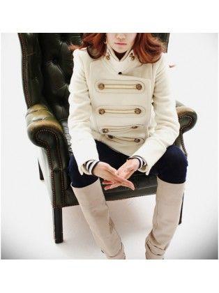 Long Sleeve Double-breasted Short Slim Coat