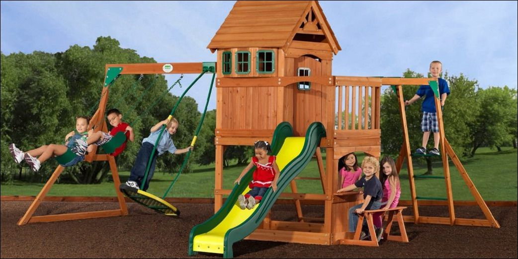 Coolest Backyard Discovery Montpelier Cedar Wooden Swing Set - Coolest Backyard Discovery Montpelier Cedar Wooden Swing Set