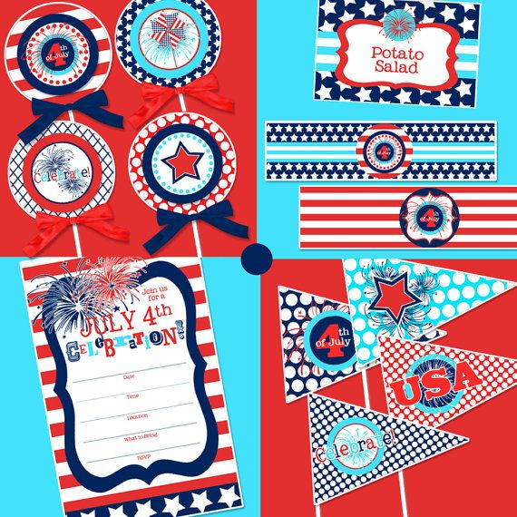 July 4th Party 4th Of July Printable July 4th Invitation Etsy 4th Of July Party 4th Of July Celebration Birthday Party Decorations