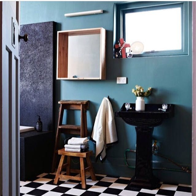 Love this blue bathroom and mirror
