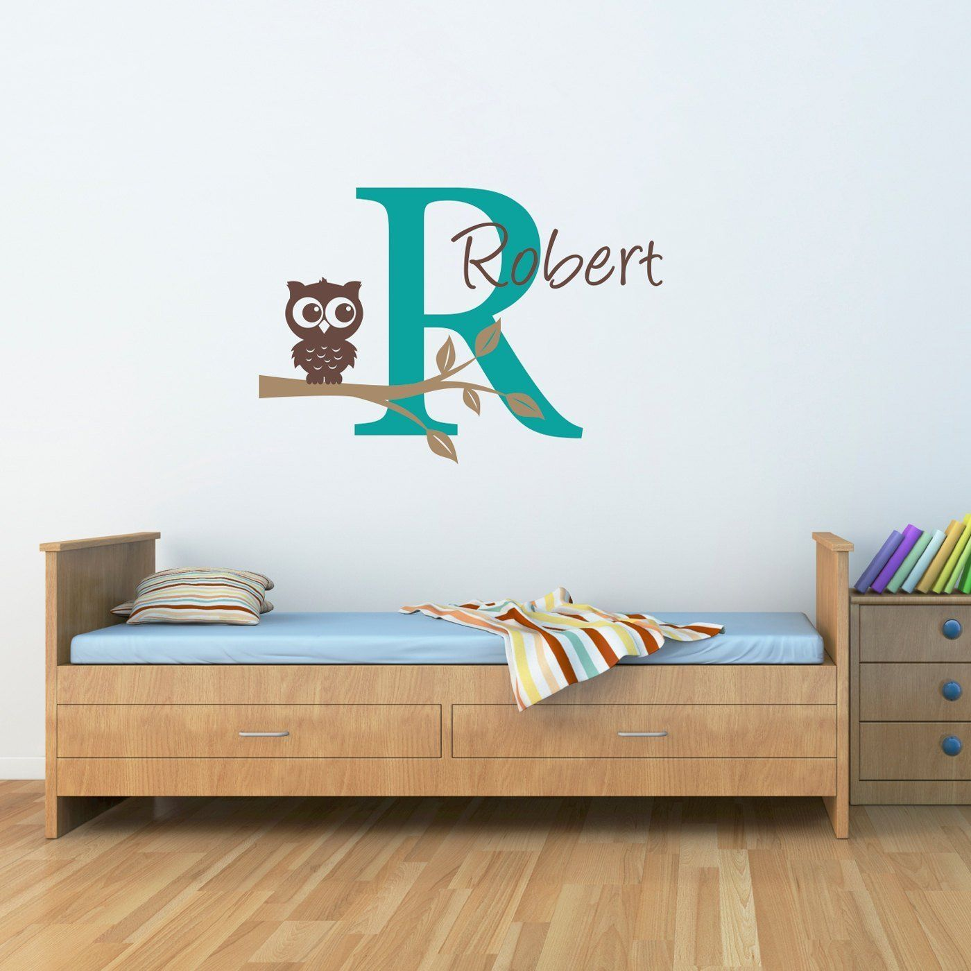 Initial u name decal with owl owl wall decal boys name decal