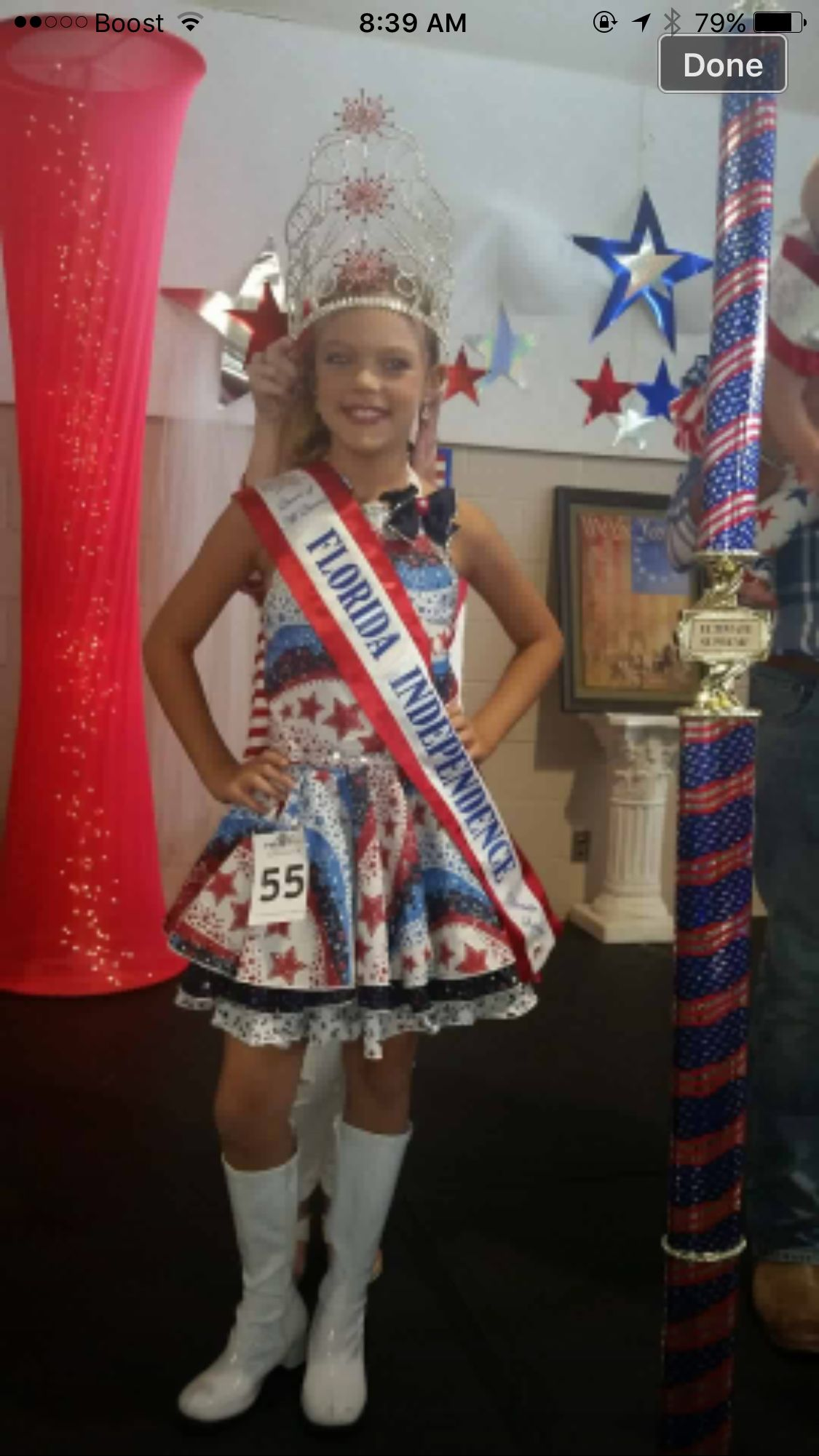 National Pageant Patriotic Casual Wear winner. Facebook:  Paulina's Pageant Designs
