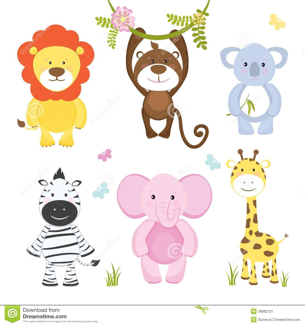 set of cute vector cartoon wild animals with a monkey hanging from