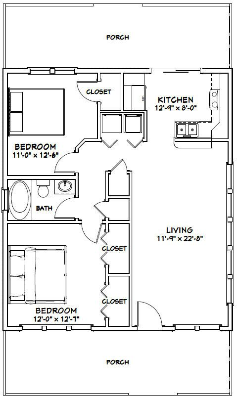 28x32 House 28x32h2m 896 Sq Ft Excellent Floor Plans Tiny House Floor Plans How To Plan Floor Plans
