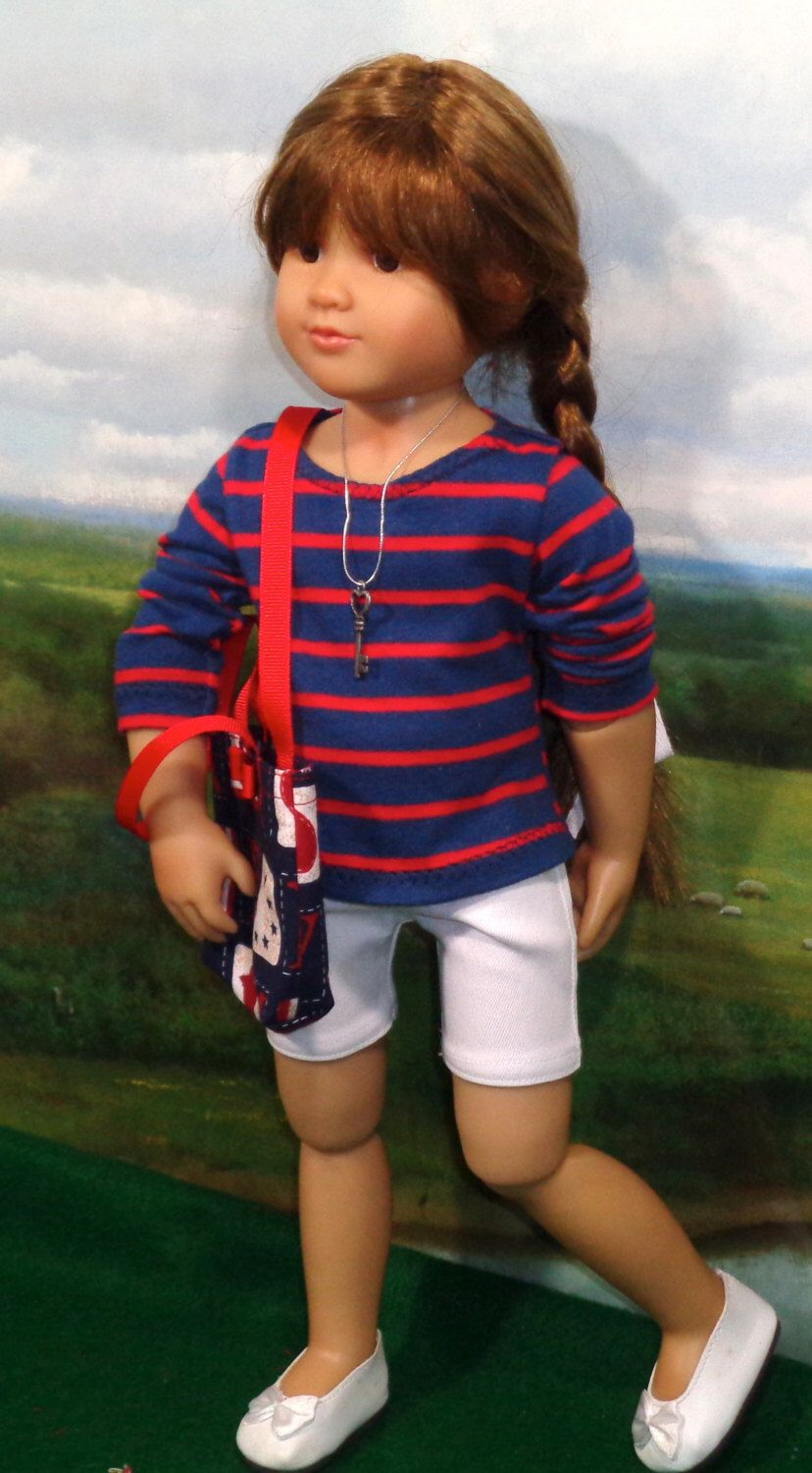 White Denim Shorts and Tee fits Slim 18 Inch Dolls like Kidz N Cats by SugarloafDollClothes on Etsy https://www.etsy.com/listing/294482859/white-denim-shorts-and-tee-fits-slim-18