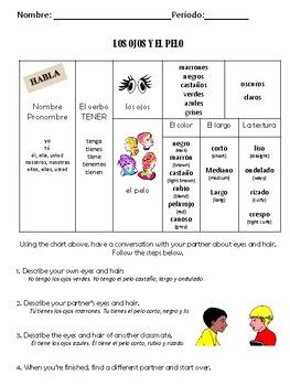 Spanish Adjectives Face And Hair With Tener Activiy Packet Spanish Adjectives Adjectives Teaching Spanish
