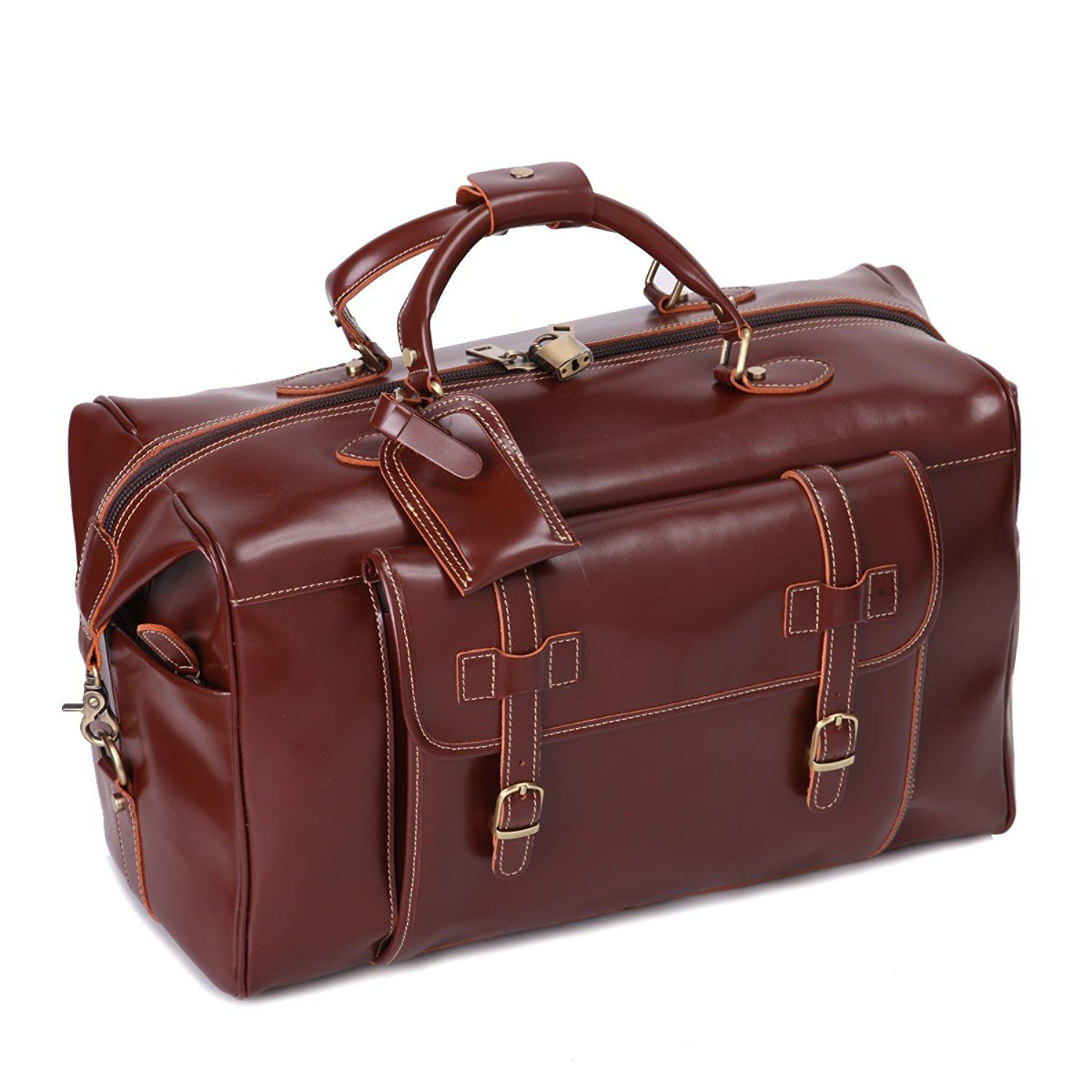 a76d3af75ba Leathario Mens Genuine Leather Overnight Travel Duffle Weekend Bag ...