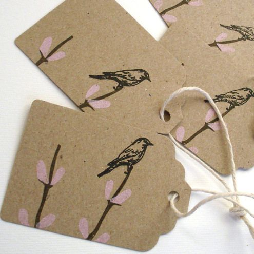 5 Gift Tags Screenprinted On Recycled Manilla Folksy Kort