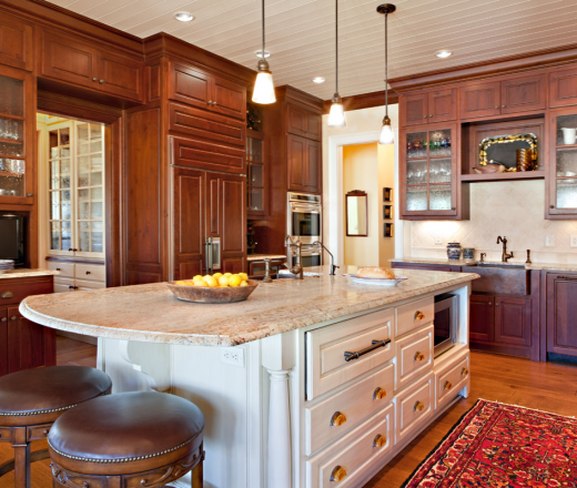 Traditional Island Style Kitchen, Cabinets,