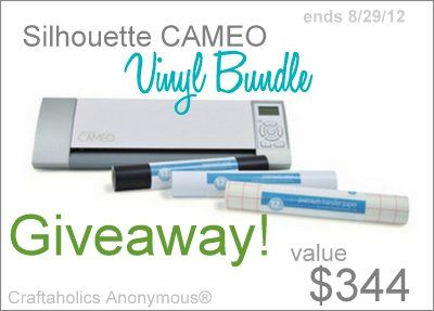 Silhouette CAMEO vinyl bundle giveaway! valued at 344 dollars.