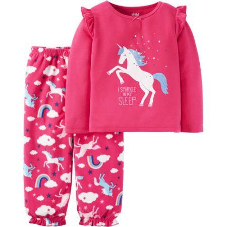 Toddler Baby Girls 2 Piece Fleece Sweat Outfit Pink Unicorn Size 18 Months ~ NEW