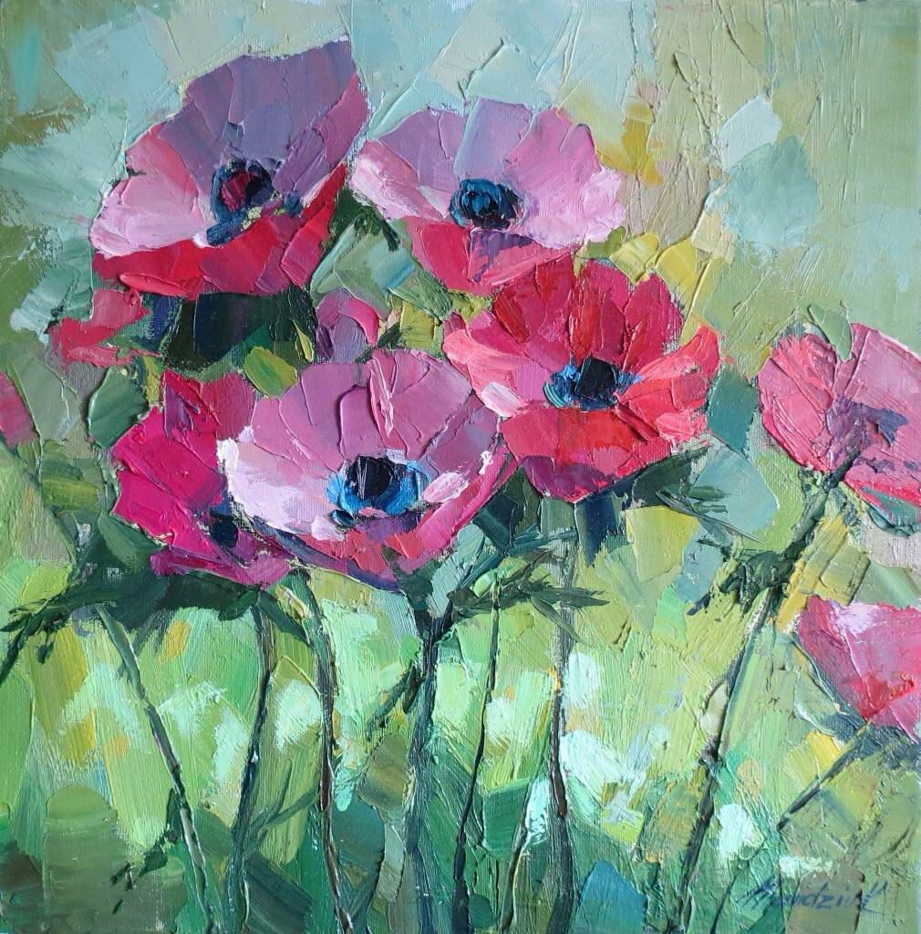 Flower Oil Painting On Canvas Anemones Etsy Flower Painting Flower Art Painting Oil Painting On Canvas