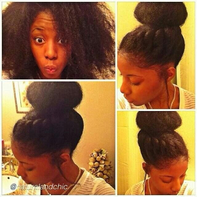 Super cute twisted bun #natural hair #Transitioning hairstyle ...