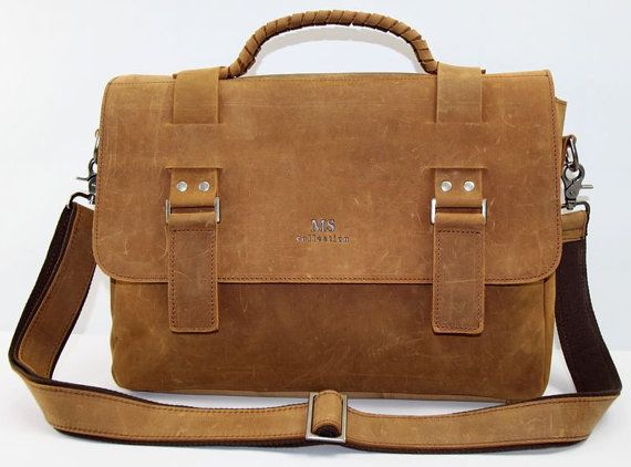 15'' Genuine Leather Briefcase/ Messenger Bag/ Laptop Bag in Yellow Brown