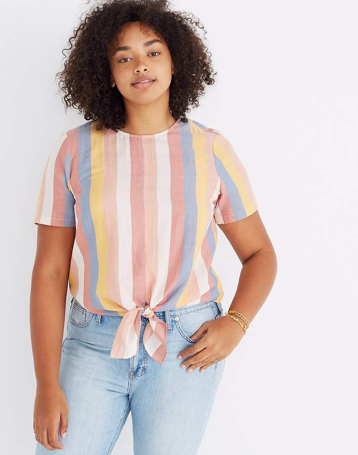 18788404ac Button-Back Tie Tee in Sherbet Stripe | Products | Tops, Buttons, Tees