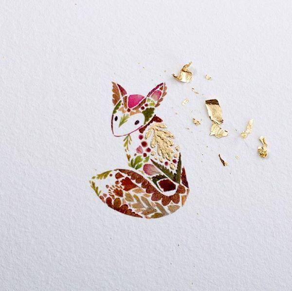 Lovely mini illustration with gold foil
