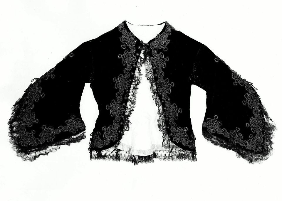 1850, France - Jacket - Silk; Black velvet trimmed with black braid and Chantilly lace