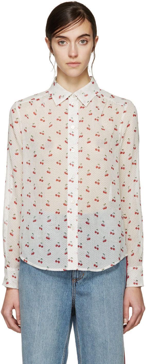 Long sleeve semisheer toile shirt in ivory polka dot and cherry