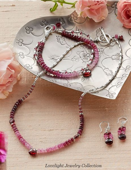 """""""Lovelight"""" set. Handcrafted exclusively for Sundance, our ombré influenced necklace, bracelet, and earrings could not make a more sparkly impression with catch-the-light spinel, garnets and the gleam of sterling silver accents."""