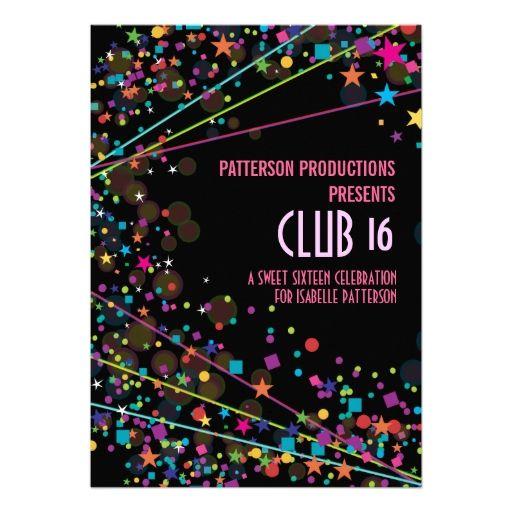 Neon Lights Sweet 16 Club Party Invitation