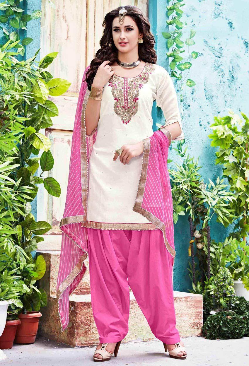 67a7315765ea7 Off White Chanderi Silk #Straight Cut #Salwar #Suit #nikvik #usa #designer  #australia #canada #freeshipping #kamiz