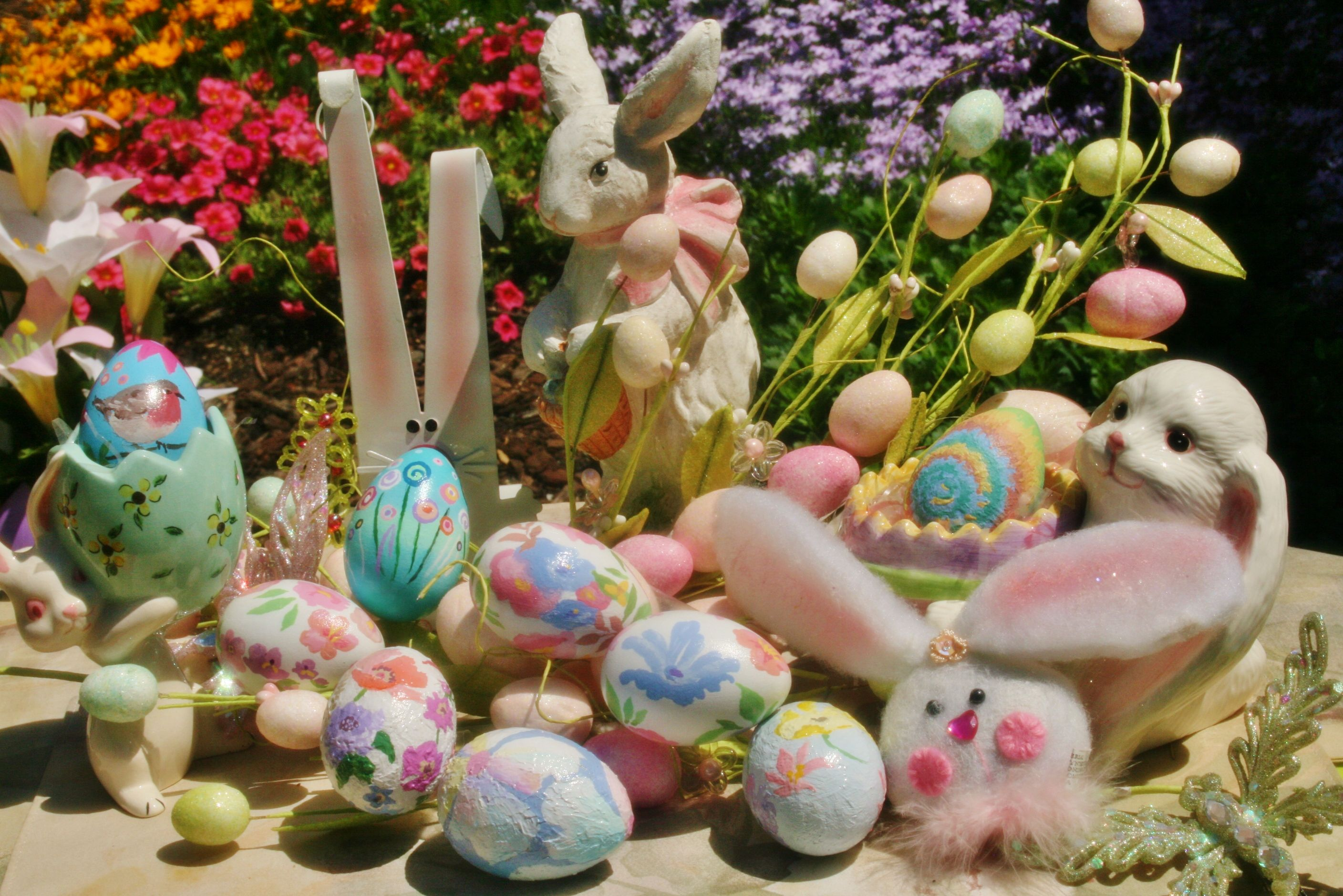 Painted Easter eggs bunny rabbit Easter decor art painted eggs in