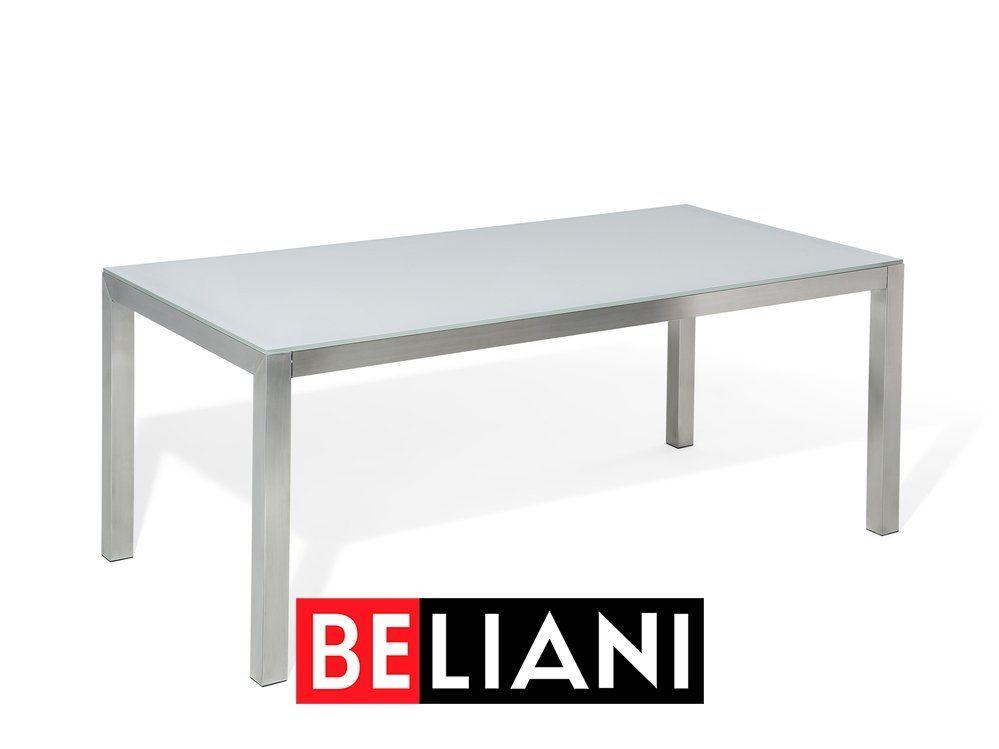 Gartenmobel Set Glasplatte Weiss 180 X 90 Cm 6 Sitzer Stuhle
