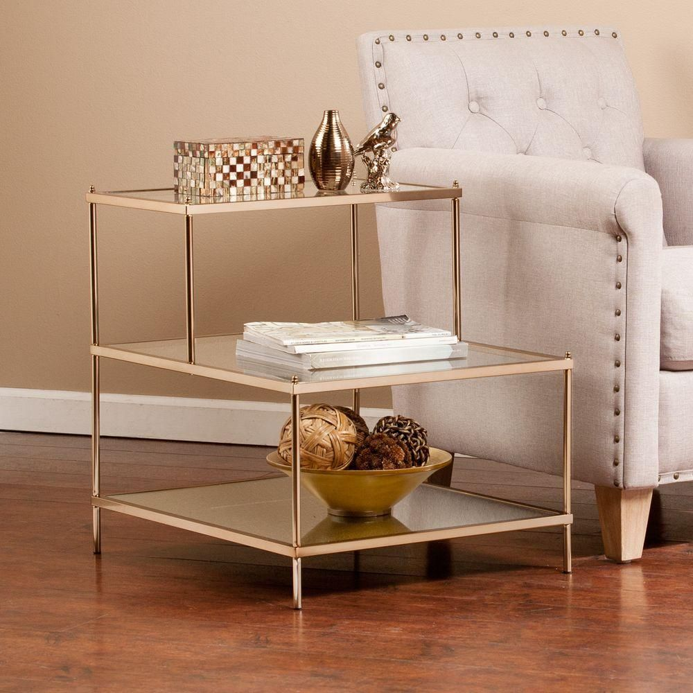Southern Enterprises Melrose Metallic Gold Glass Top End Table Hd889344 The Home Depot Glass Accent Tables Gold Accent Table Glass Top End Tables [ 1000 x 1000 Pixel ]