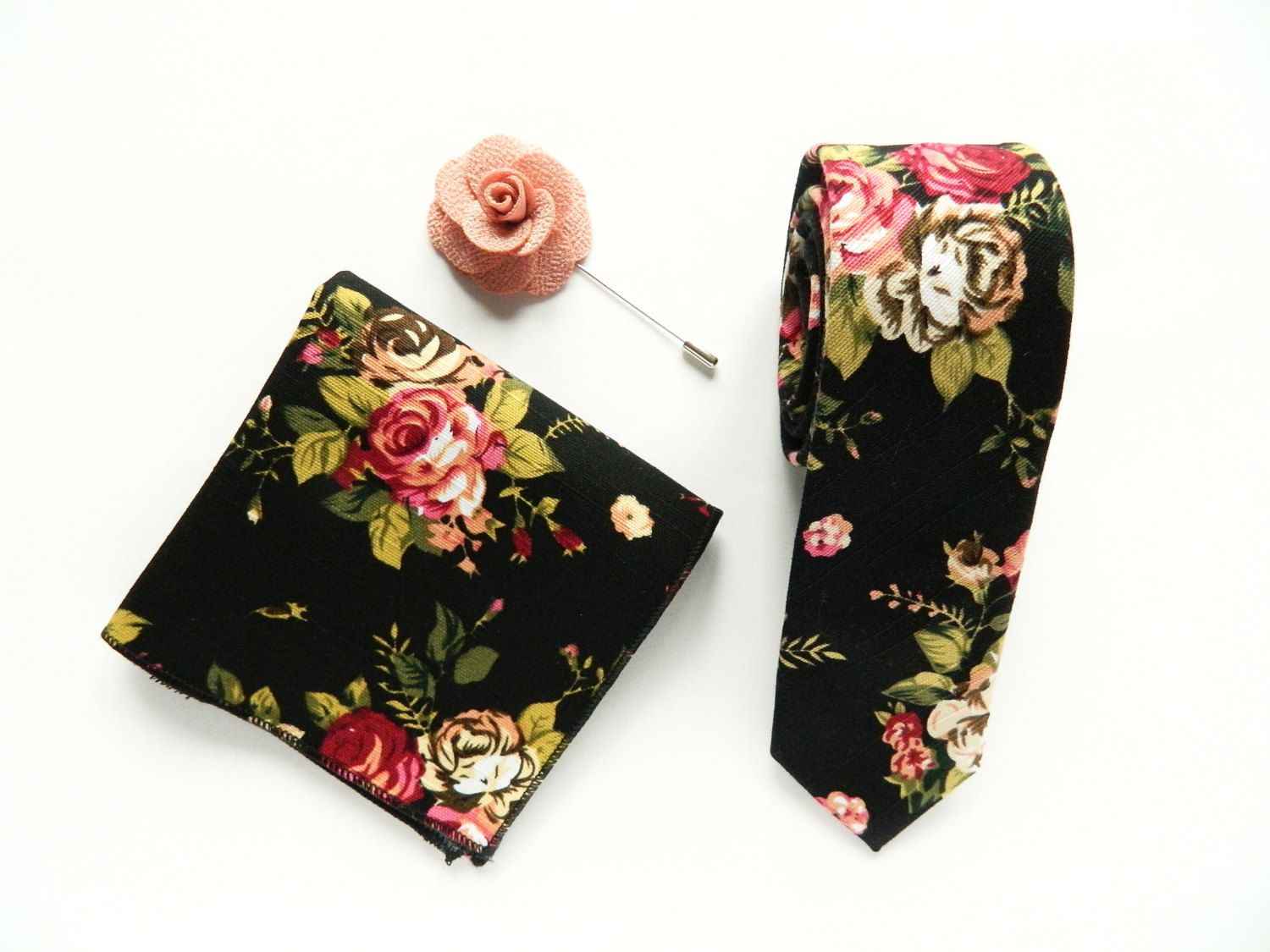 a98ea34efbbe Men's Black Floral skinny tie Pocket Square Wedding linen Floral Prints  Wedding Gifts for Men Groomsmen Boutonniere Lapel Pin by TheStyleHubTrends  on Etsy
