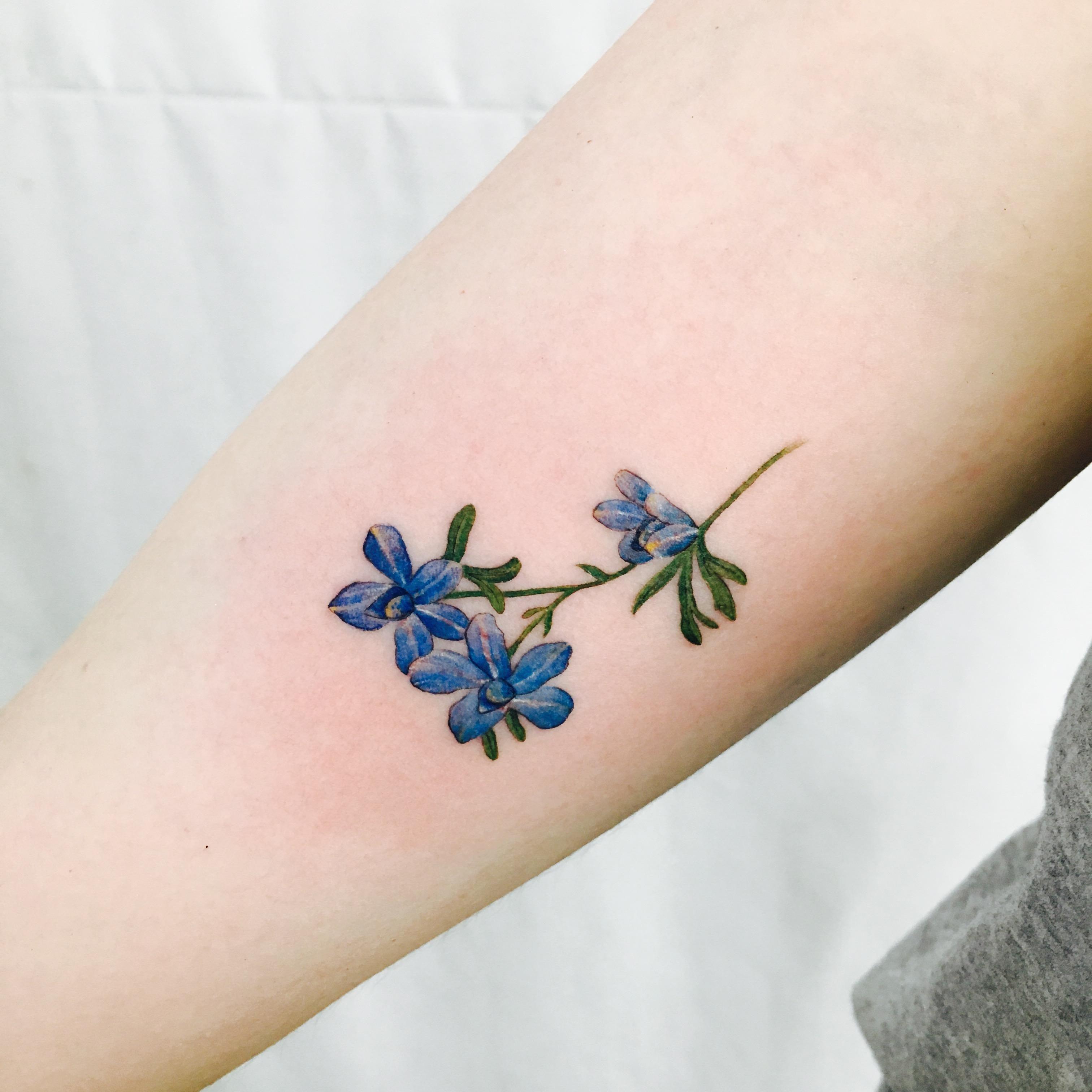Siberian Larkspur On My Upper Arm Done By Wonseok At Tattoo Mare Studio Seoul Korea Larkspur