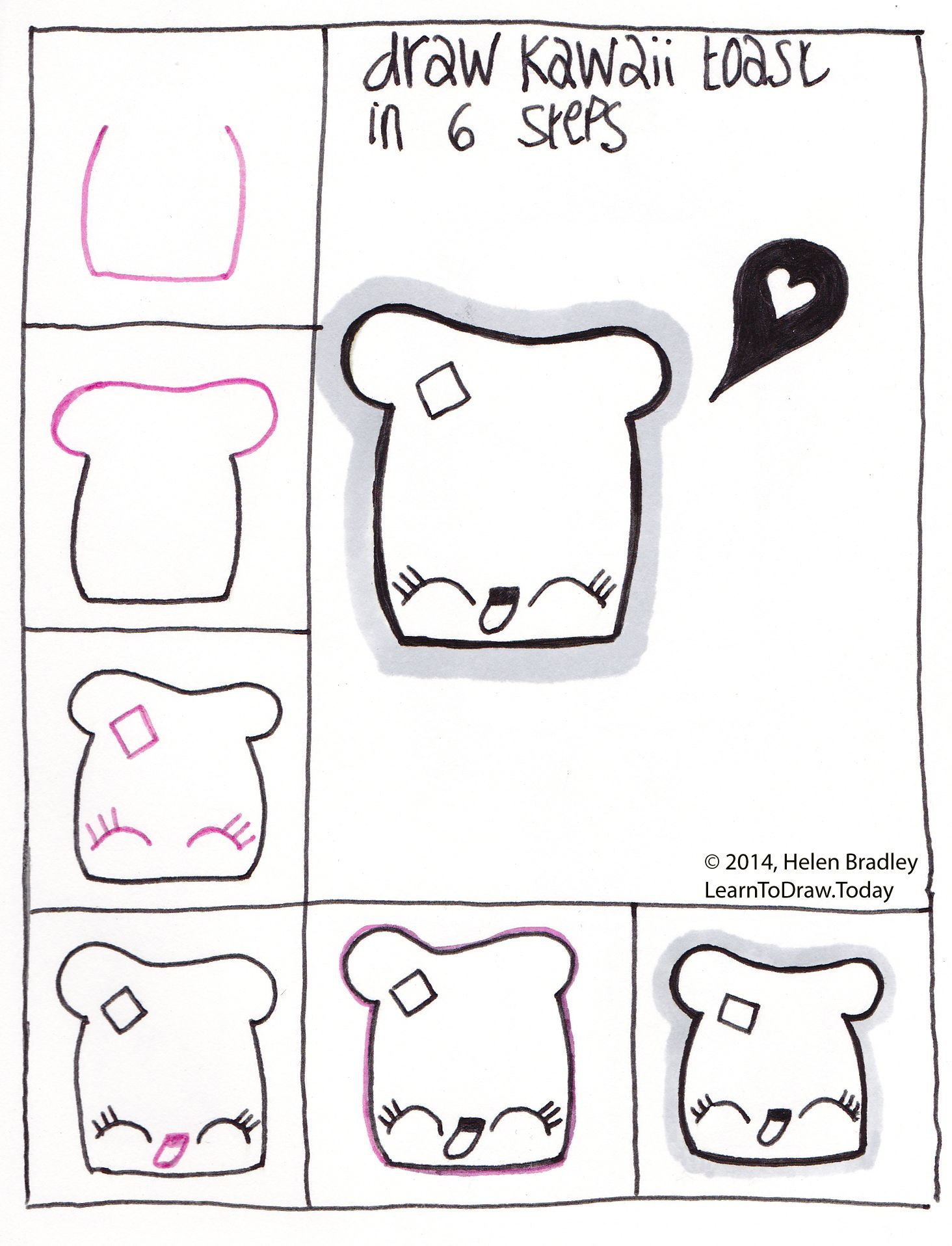 draw kawaii toast step by step kawaii and doodles