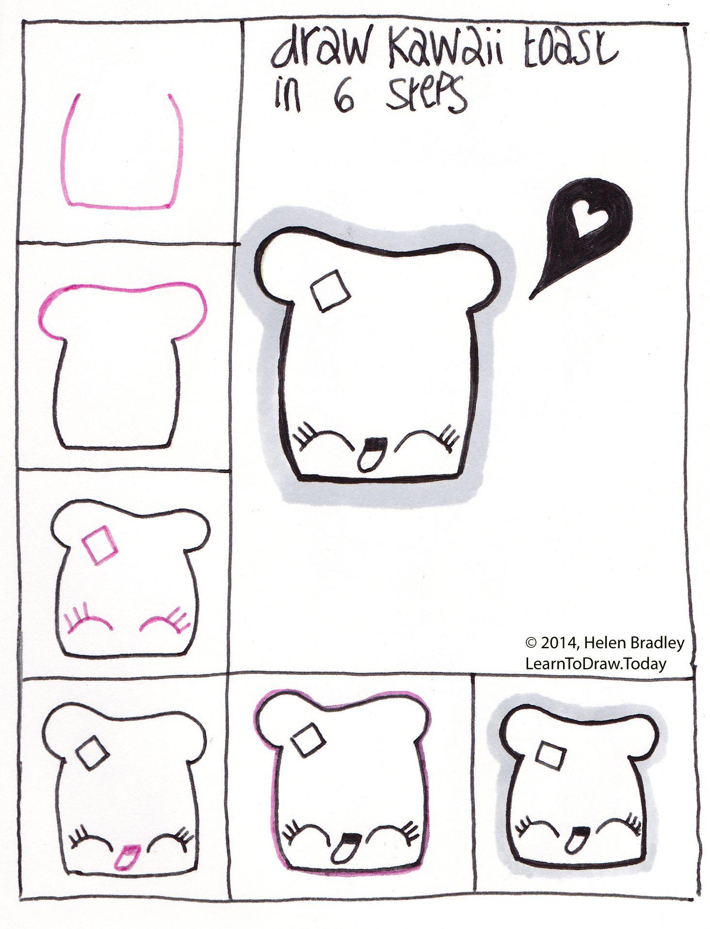 Draw Kawaii Toast Step By Step Easy Drawings Cute