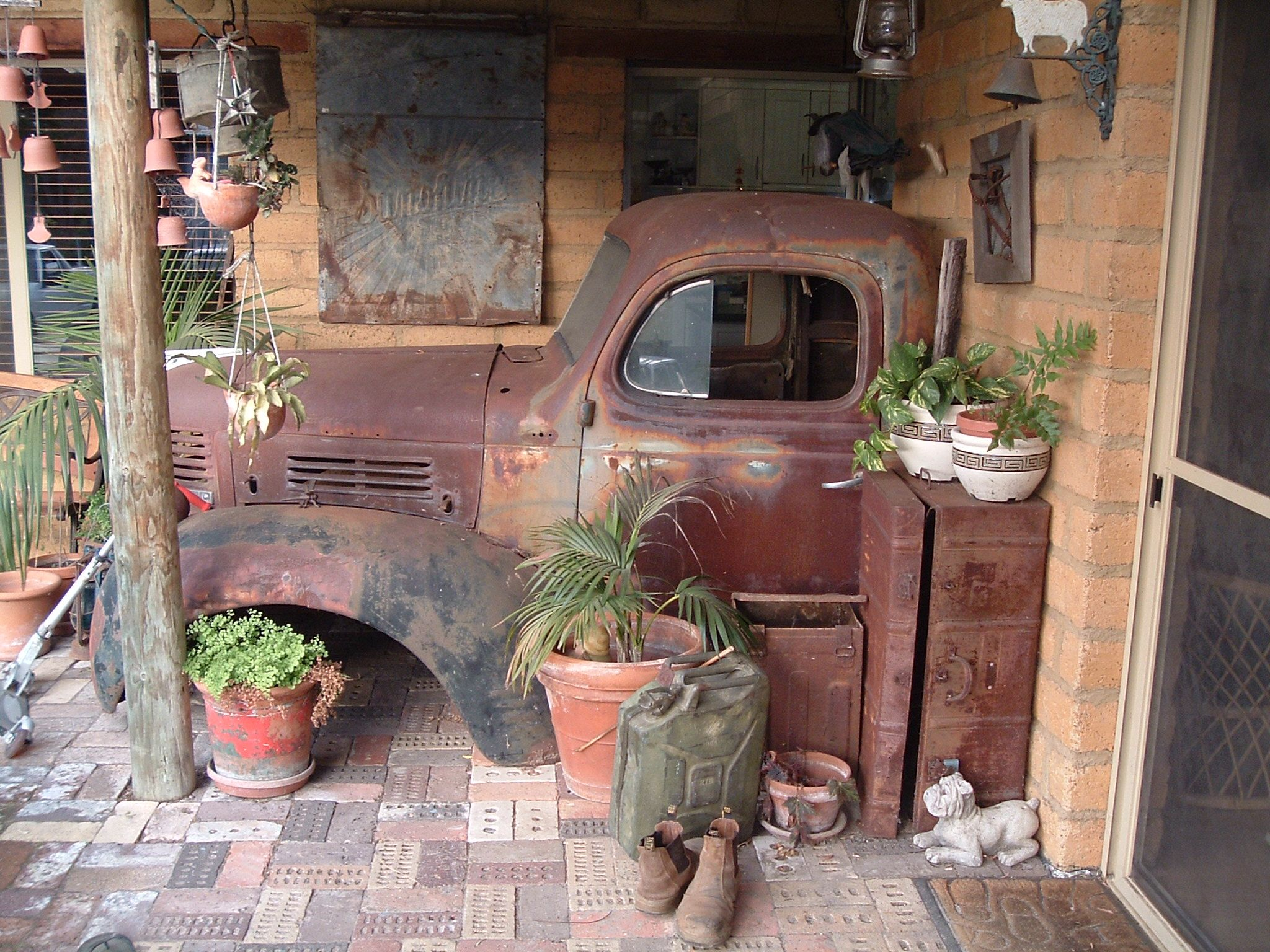 Our rusty Old Dodge Truck, at the moment a cool garden