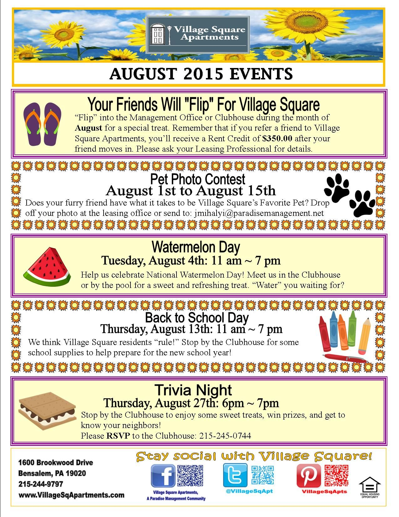 We are so excited for all of our August Events! | Resident Events ...
