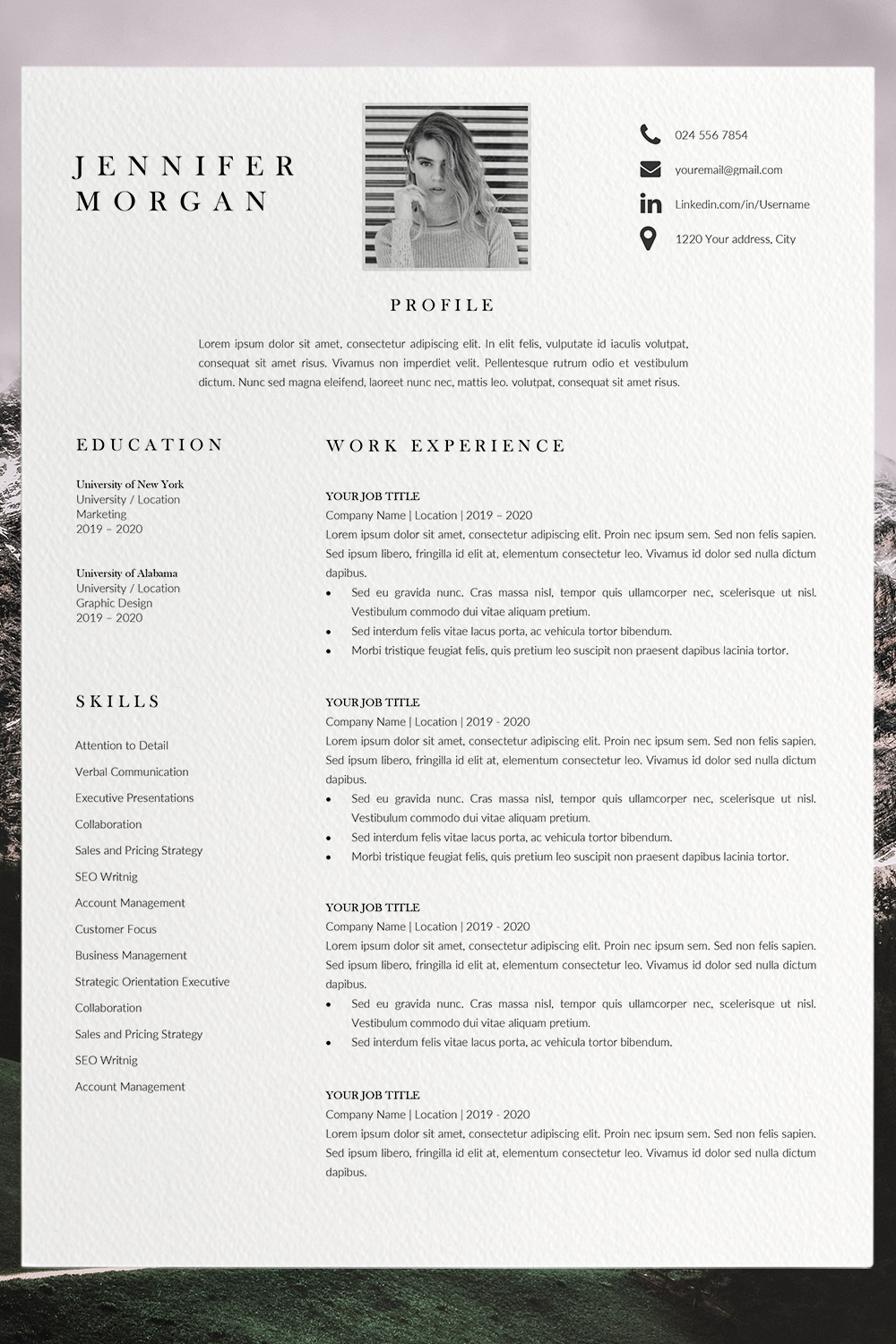 Modern Resume Template Word Resume Template with Picture